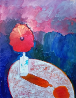 poppies in the glass